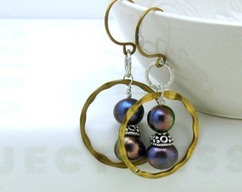Peacock Pearl Brass Hoop Earrings, Geometric Boho Dangle Earrings, Gift for Mom Daughter Girlfriend Under 75