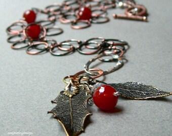 Boho Copper Chain Necklace, Bronze Leaf Necklace, Bohemian Copper Carnelian Necklace / Woodland / Rustic
