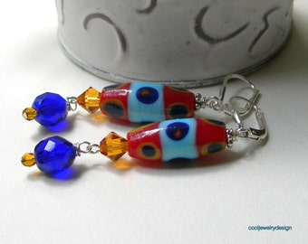 Colorful Boho Dangle Earrings, Primary Colors Leverback Drop Earings, for Her Under 50