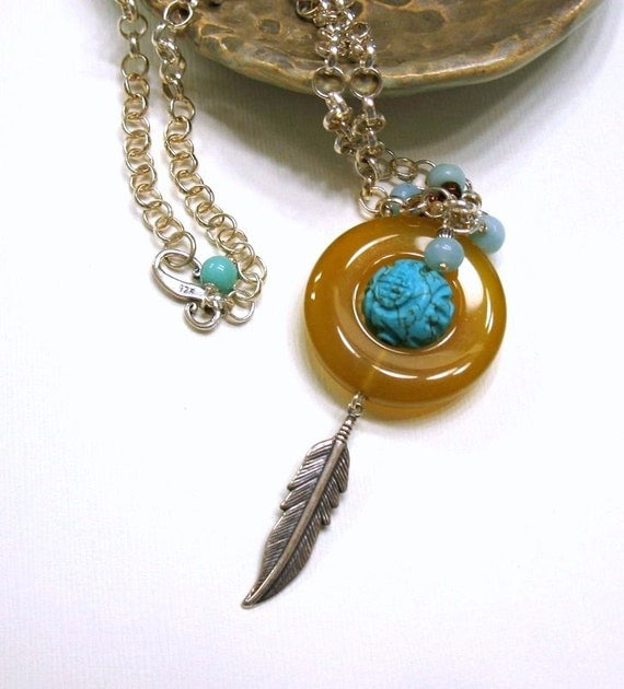 Turquoise and Carnelian Southwestern Boho Necklace, Silver Feather Pendant Necklace, for Her Under 175