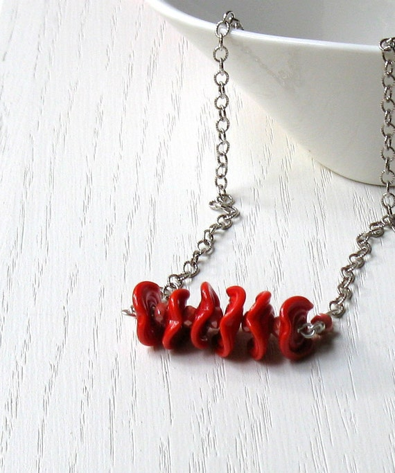 Red Ruffle Lampwork and Sterling Silver Necklace - Ruffles / Summer Nautical Patriotic