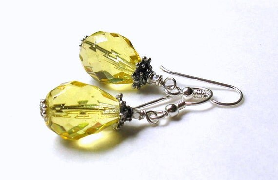 RES for George - Yellow Glass Quartz Sterling Silver Earrings - Lemon Zest / Sunny Fruit Juicy / Honey / Under 35