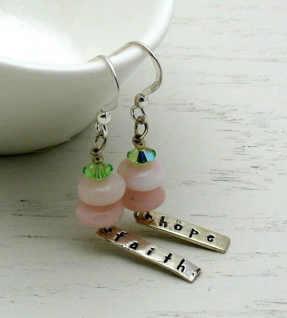 Pink Opal Beaded Earrings  / Pink Gemstone Dangle Earrings / Support / Awareness / Friendship / Fellowship