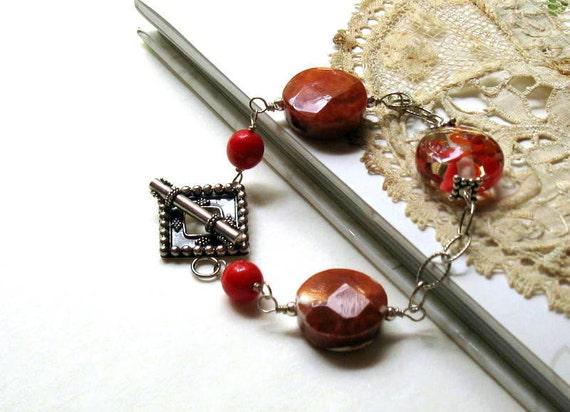 Red Fire Agate Sterling Silver Boho Wrapped Bracelet, Red Boho Geometric Bracelet, for her under 150