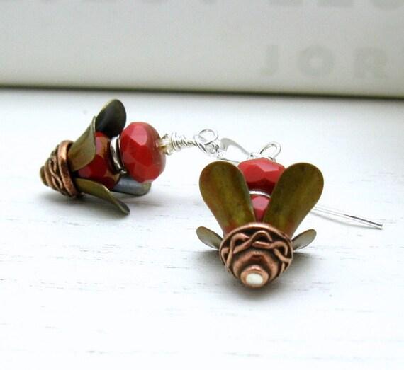 Orange Sterling Silver Boho Dangle Earrings / Modern / Bohemian / Woodland / Rustic / Spice / Silk Road