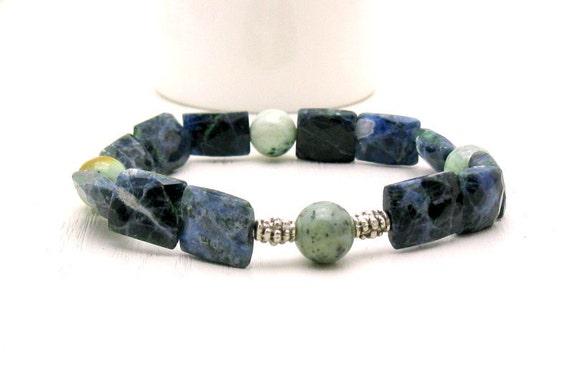 Denim Blue Sodalite and Pewter Beaded Bracelet - Laurel:  Fresh Denim