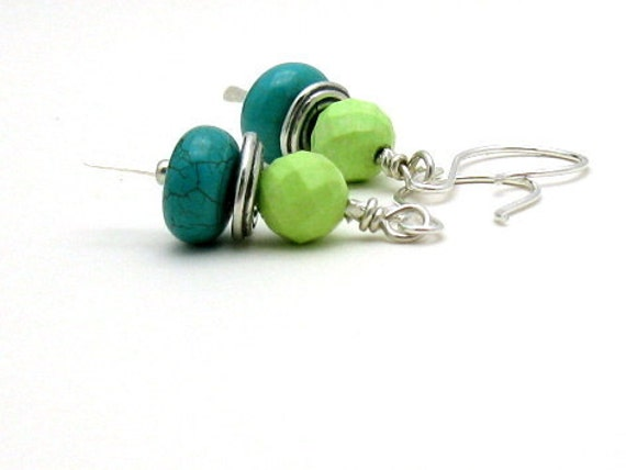 Turquoise Sterling Silver Mod Earrings - Topper: Fresh Spring Bright
