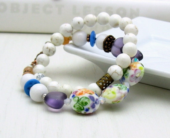 Purple and White Floral Lampwork Boho Beaded Bracelet, for Her Under 125, Gift for Mom Girlfriend