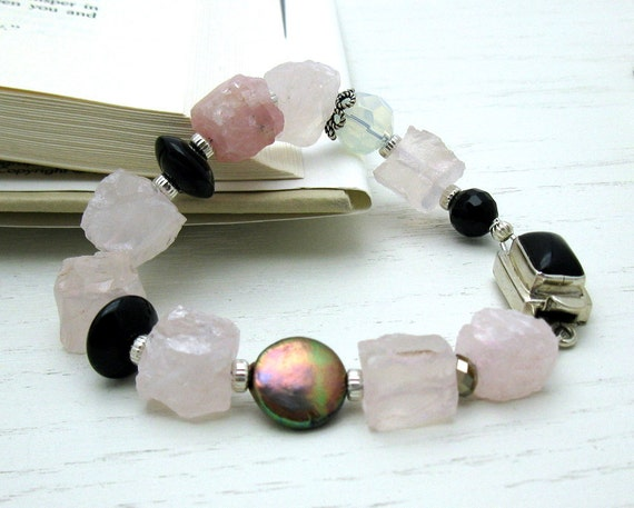 RES for Maria - SALE - Rose Quartz Black Sterling Silver Bracelet /  Pink Black and Sterling Silver Beaded Bracelet