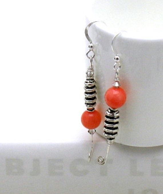 RES for Maria - SALE - Orange Tangerine Coral Sterling Silver Modern Dangle Earrings / Bohemian / Tangerine / Asymmetrical