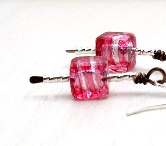 Pink Modern Beaded Dangle Earrings Petite Pink Geometric Murano Glass Minimalist Earrings Modern Pink Raspberry Earrings