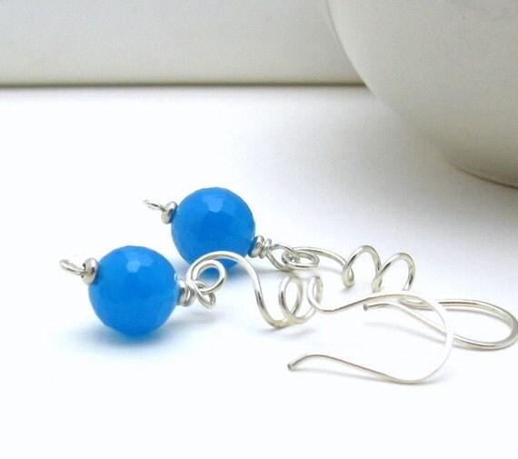 Blue Modern Dangle Earrings, Minimalist Sky Blue Sterling Silver Drop Earrings,  For Her Under 55