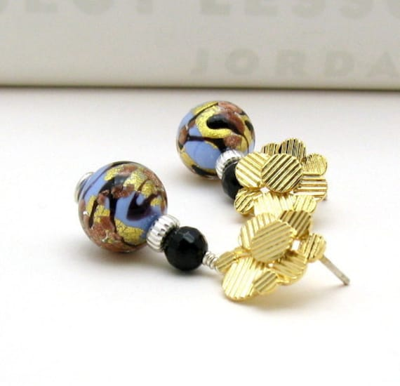 Gold Black Blue Murano Glass Post Earrings, Modern Metallic Beaded Stud Earrings, Luxe Statement, For Her Under 75