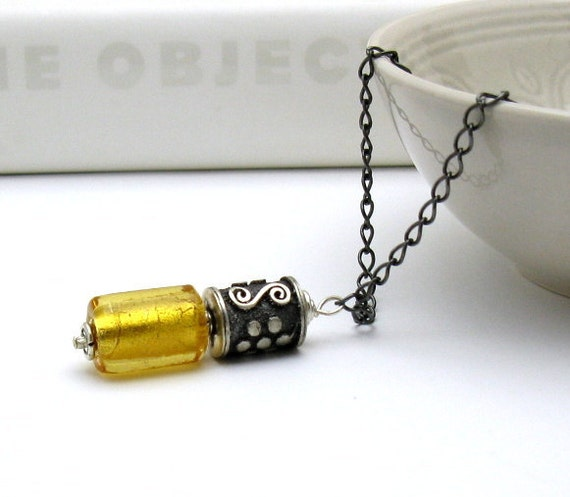 Yellow Modern Murano Glass Necklace / Mod Sterling Silver Yellow Pendant Necklace / Golden / Honey / Saffron / Minimalist / Made by Artist