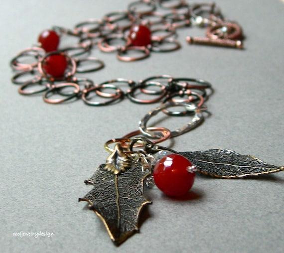 Boho Copper Chain Necklace, Bronze Leaf Necklace, Boho Copper Carnelian Necklace, for her Under 150