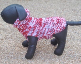 Hand Knit Chihuahua Candy Cane Dog Sweater  xx small