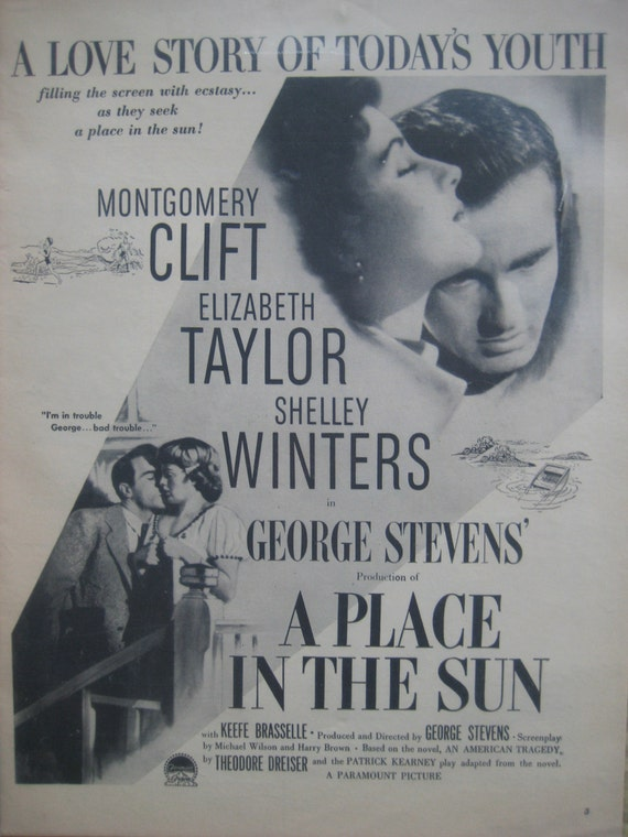 VINTAGE unframed A PLACE IN THE SUN movie poster