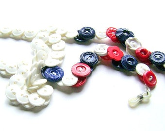 Eyeglasses Chain in Vintage Buttons Red White Blue