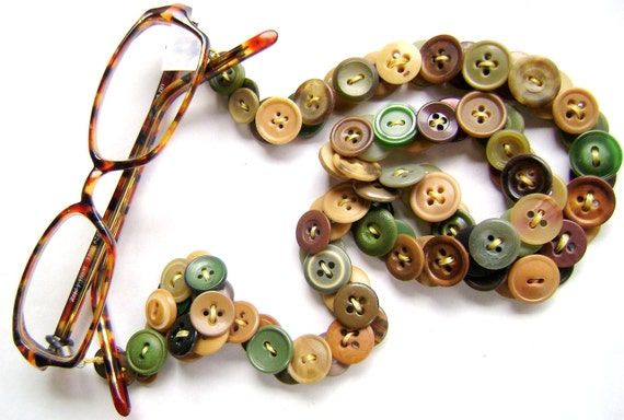 Eyeglass Chain in Vintage Buttons - Shades of Green and Brown