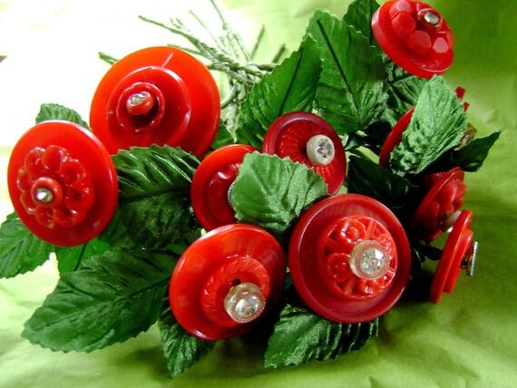 Vintage Button Flower Bouquet in Red with Rhinestones
