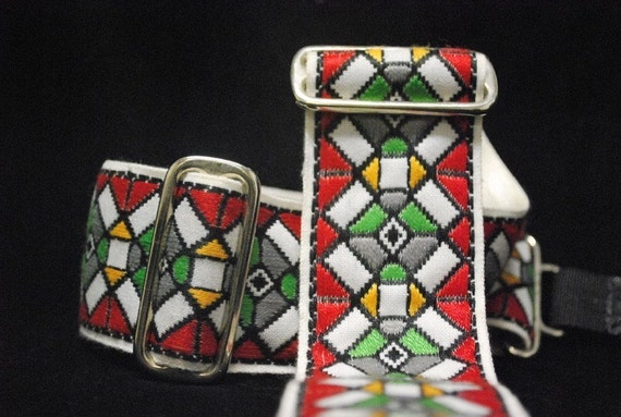 Red Stained Glass Adjustable Custom Camera Strap like Duane Allman Strap on White Recycled Seatbelt 178