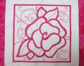 Embroidered quilt block, Machine embroidery, Rose 10 x 10 block SIX