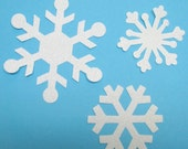 FABRIC APPLIQUES, 12 ASSORTED SNOWFLAKES, FUSED DIECUT