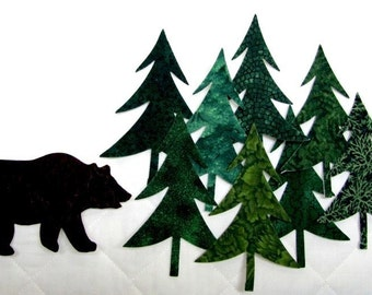 Diecut EVERGREENS and BEARS, diy,  appliques, forest, TEMPORARILY fused, precision die cut cotton