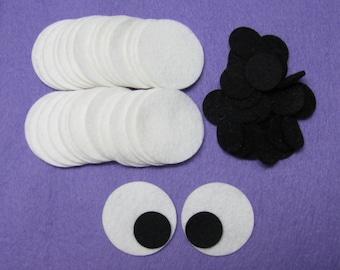 Diecut, 30 EYES,  DIY,  Wool felt blend,  circles, LARGE, Safety eyes for stuffed animals, toys, felt ornaments, etc.