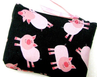 Coin purse, Small coin purse, Small zippered coin purse, Zipper coin purse, Wallet, Pigs, pigs, pigs.