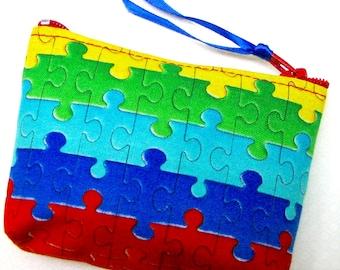 Coin purse, Mini coin purse, Small coin purse, Small zippered coin purse, Zipper coin purse, Wallet,  Autism logo