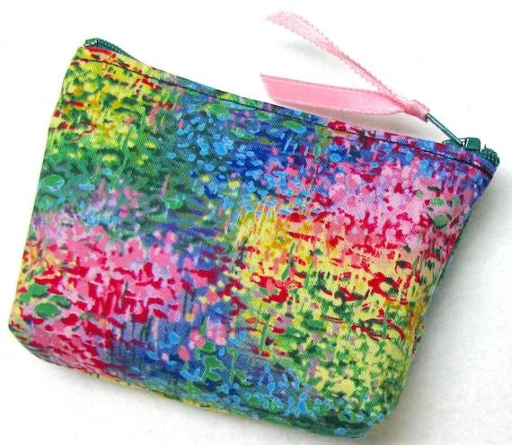 Coin purse, mini purse, zippered coin purse, Monet's Garden
