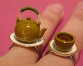 Chinese Tea Cup and Teapot Rings Set