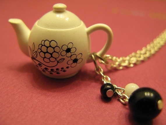 Black And White Teapot Tea Pot Pendant Necklace
