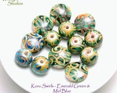 Koru Swirl Beads - Emerald/Aqua Blues