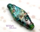 "Lampwork Bead - wearable art - ""Rapids"" BrisStyle Handmade Ark Flood Appeal"
