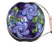 DKS Lampwork - Purple Floral 1 inch focal bead