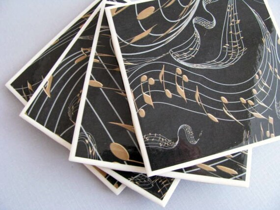 Black and Gold Music Note Ceramic Tile Coasters