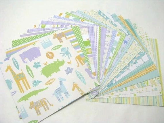 DCWV Nana's Nursery Baby Boy, 24-6x6 Cardstock Sheets some with glitter, scrapbooking, card making and paper crafts