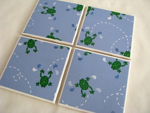 Sale Froggy Ceramic Tile Coaster Set of 4