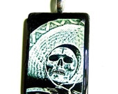 40% off sale Eco-Friendly Day of the Dead skull photo pendant necklace OOAK