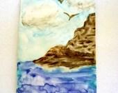 Aceo art card original watercolor Island in the Sun sale