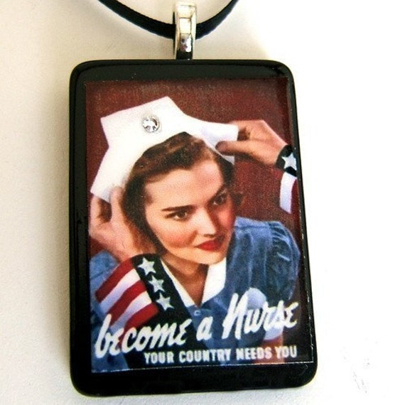 WW II American Nurse pendant necklace recycled game tile eco friendly