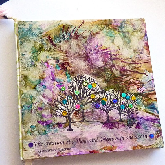 Smash book altered art journal Mixed media collage Sparkling Trees sale