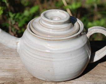 TEAPOT glazed in white, ready to ship, handmade stoneware