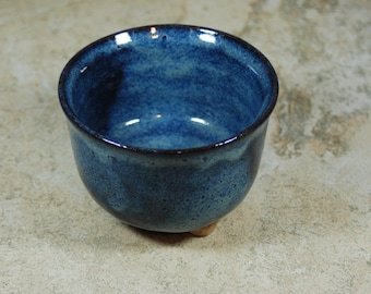 BLUE pot with feet, ceramic, pottery serving dish, sauce, relish, nuts, candy ready to ship  B53