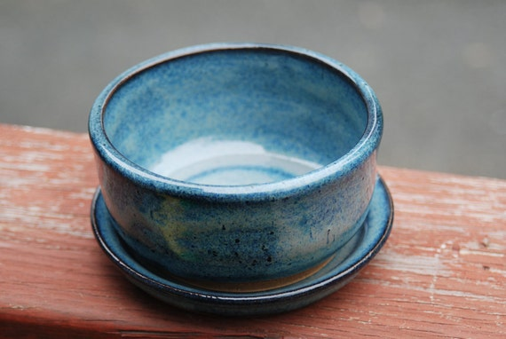 1blue berry bowl with  drip plate...7bl