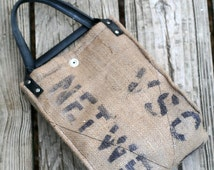 Recycled Burlap, Thermally Insulated Lunch Bag, Canvas Interior. Model: Coffee Bean