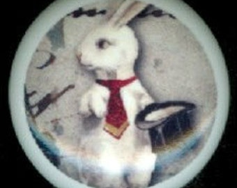 After Midnight WHITE RABBIT with Red Tie MAGICIAN Gothic Ceramic Drawer Knobs