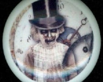 After Midnight ZOMBIE GOTH Girl with Top Hat Ceramic Drawer Knob